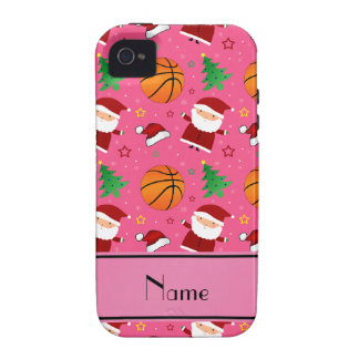 Personalized name pink basketball christmas iPhone 4/4S cases