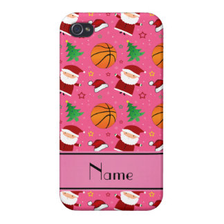 Personalized name pink basketball christmas cases for iPhone 4