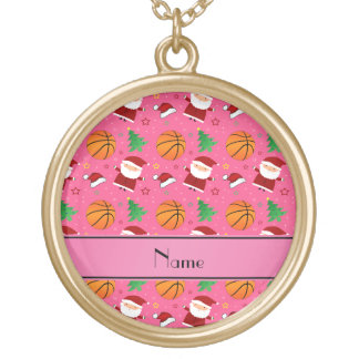 Personalized name pink basketball christmas custom necklace