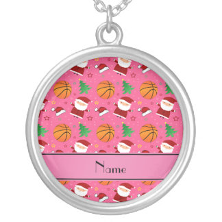 Personalized name pink basketball christmas personalized necklace