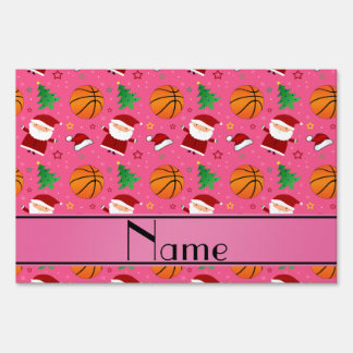 Personalized name pink basketball christmas signs
