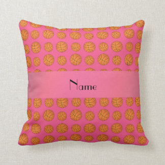 Personalized name pink basketballs throw pillow