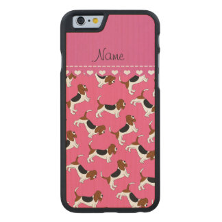 Personalized name pink basset hound dogs carved® maple iPhone 6 case