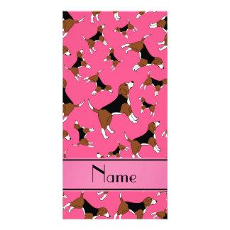 Personalized name pink beagle dog pattern photo card