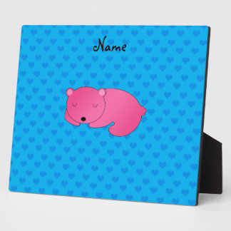 Personalized name pink bear blue hearts photo plaques