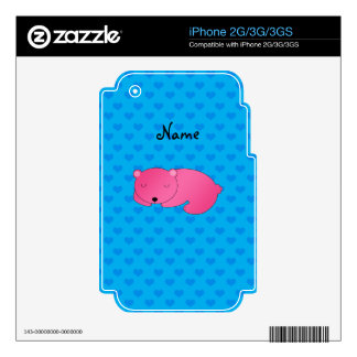 Personalized name pink bear blue hearts skins for the iPhone 3G