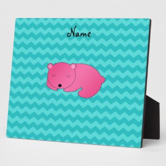 Personalized name pink bear plaques