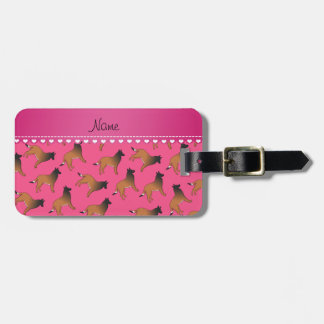 Personalized name pink belgian tervuren dogs luggage tag
