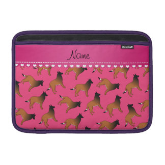 Personalized name pink belgian tervuren dogs MacBook air sleeve