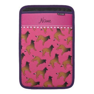 Personalized name pink belgian tervuren dogs MacBook air sleeves