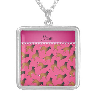 Personalized name pink belgian tervuren dogs square pendant necklace