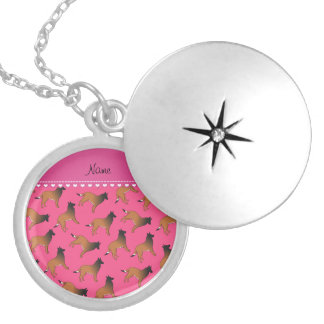 Personalized name pink belgian tervuren dogs round locket necklace