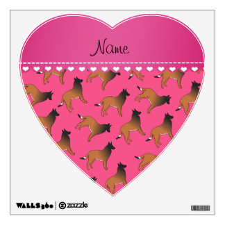 Personalized name pink belgian tervuren dogs wall sticker