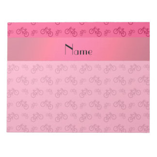 Personalized name pink bicycle pattern notepad