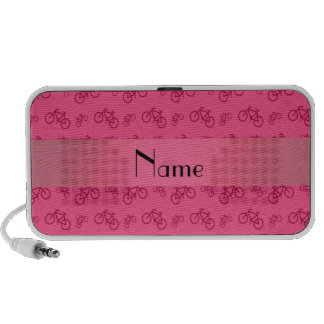 Personalized name pink bicycle pattern notebook speakers