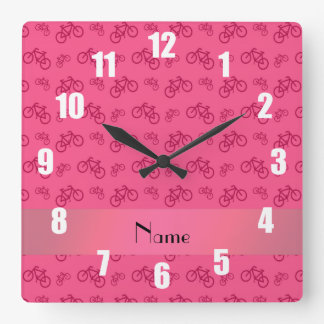 Personalized name pink bicycle pattern square wall clock