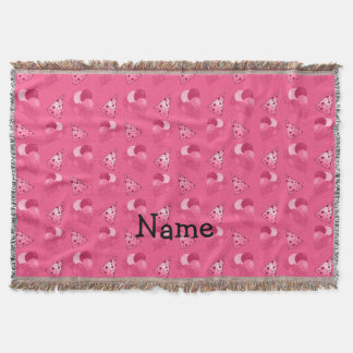 Personalized name pink birthday pattern throw blanket