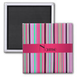 Personalized name pink black and green stripes magnet