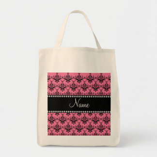 Personalized name Pink black damask Tote Bag