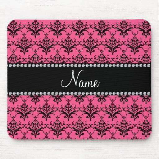 Personalized name Pink black damask Mousepads