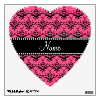 Personalized name Pink black damask Room Decals