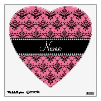 Personalized name Pink black damask Wall Graphics