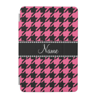 Personalized name pink black houndstooth iPad mini cover