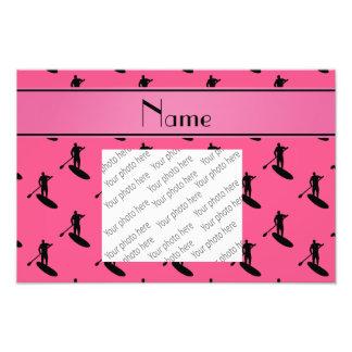 Personalized name pink black paddleboarding photo print