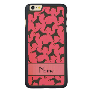 Personalized name pink black tan coonhounds carved® maple iPhone 6 plus case