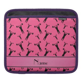 Personalized name pink black weightlifting iPad sleeve