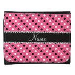 Personalized name pink black white polka dots leather tri-fold wallet