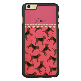 Personalized name pink bloodhound dogs carved® maple iPhone 6 plus case