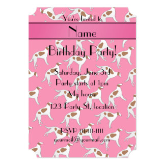 Personalized name pink borzoi dog pattern 5x7 paper invitation card
