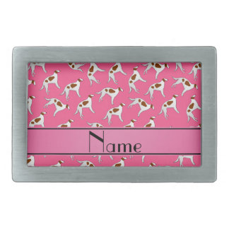 Personalized name pink borzoi dog pattern belt buckles