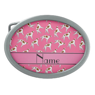 Personalized name pink borzoi dog pattern oval belt buckle