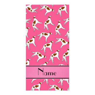 Personalized name pink borzoi dog pattern photo card
