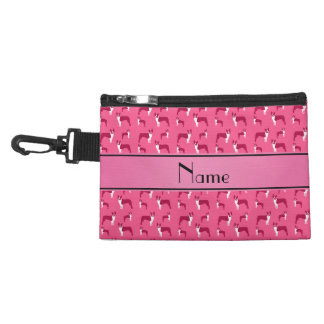 Personalized name pink boston terrier accessory bag