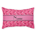 Personalized name pink boston terrier small dog bed