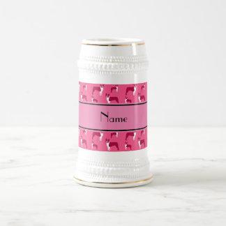 Personalized name pink boston terrier mugs