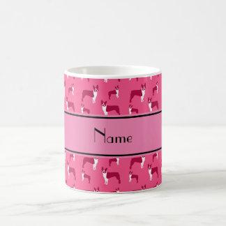 Personalized name pink boston terrier classic white coffee mug