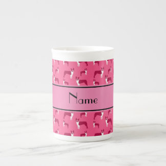 Personalized name pink boston terrier tea cup