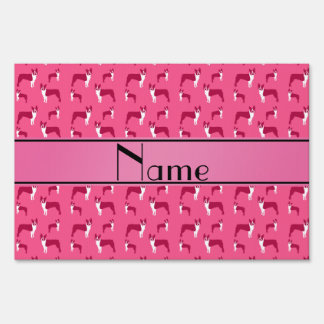 Personalized name pink boston terrier lawn signs