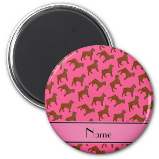 Personalized name pink Bouvier des Flandres dogs 2 Inch Round Magnet