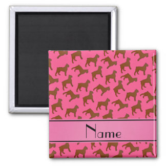 Personalized name pink Bouvier des Flandres dogs 2 Inch Square Magnet