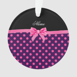 Personalized name pink bow purple pink dots