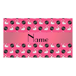 Personalized name pink bowling pattern business card templates