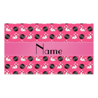 Personalized name pink bowling pattern business card