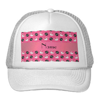 Personalized name pink bowling pattern trucker hat