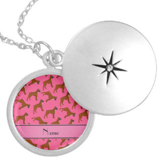 Personalized name pink boxer dog pattern round locket necklace