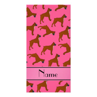 Personalized name pink boxer dog pattern photo card